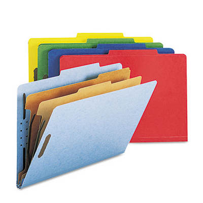 Smead Pressboard Classification Folders with 6 Sections, Legal, 10 per Box - Assorted Colors