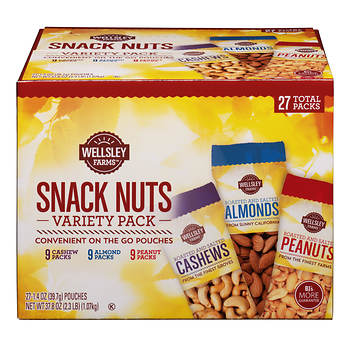 Wellsley Farms Assorted Nut Snack Packs, 27 ct./1.4 oz.