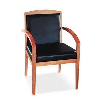 Basyx Leather/Wood Guest Chair (Black Leather Upholstery with Cherry Veneer Frame)