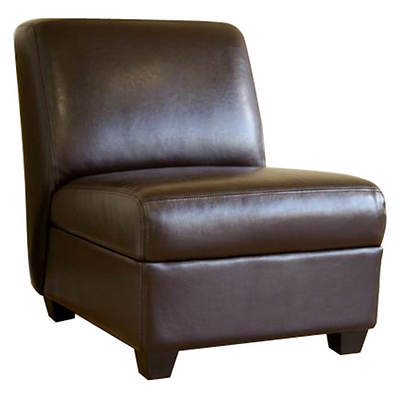 Baxton Studio Fleance Leather Accent Chair - Dark Brown
