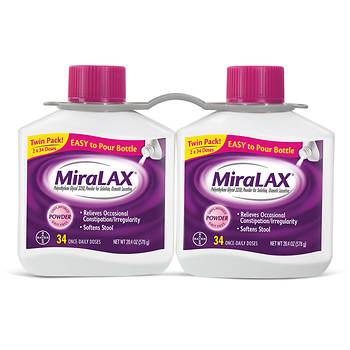 MiraLAX Powder Laxative, 2 pk./20.4 oz.