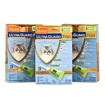 Hartz UltraGuard PRO Flea and Tick Drops for Cats over 5 lb., 3 pk.