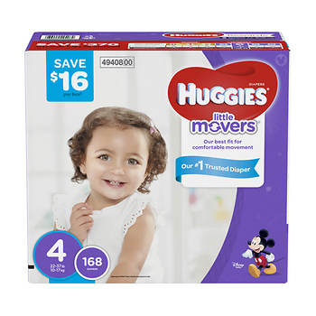 Huggies Little Movers Step 4 Diapers, 168 ct.
