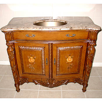 Lanza Single-Sink Bathroom Vanity with Brass Sink and Marble Top - Brown