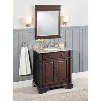 Lanza Single-Sink Bathroom Vanity with Granite Countertop and Mirror - Dark Brown