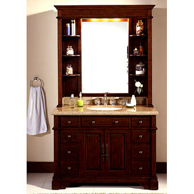 Lanza Single-Sink Bathroom Vanity with Granite Countertop and Hutch - Mahogany
