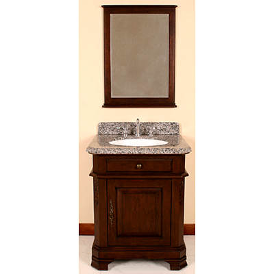 Lanza Single-Sink Bathroom Vanity with Granite Countertop, Single-Door Cabinet and Mirror - Antique Dark Espresso
