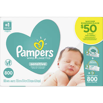 Pampers Sensitive Baby Wipes, 800 ct.
