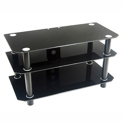 "W. Trends 42"" Wide Glass and Metal TV Stand - Black"
