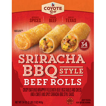 Coyote Grill Sriracha BBQ Style Beef Rolls, 34 ct.