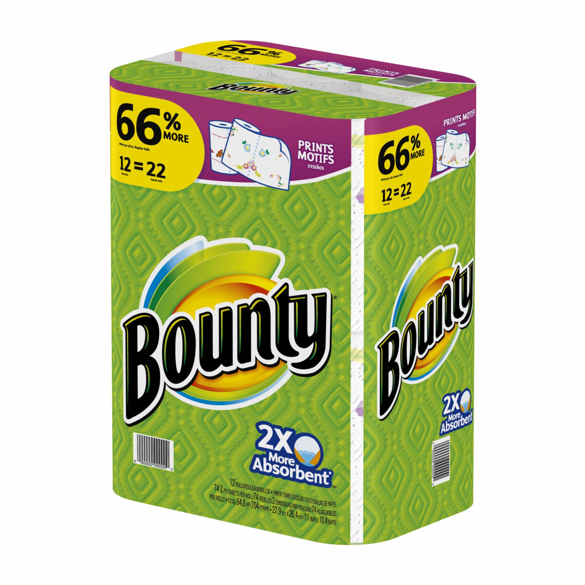 Bounty Paper Towels Fall Prints: Bounty Paper Towels, Print, 12 Super Rolls