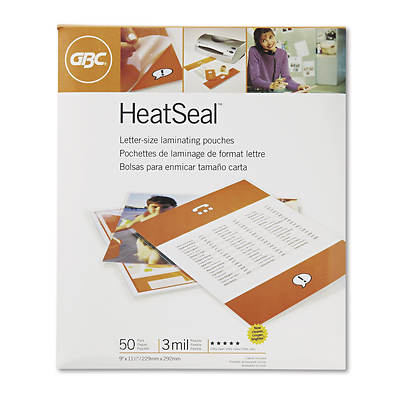 "Swingline HeatSeal 9"" x 11 1/2"" Laminating Pouches, 3mm, 50 Count - Clear"