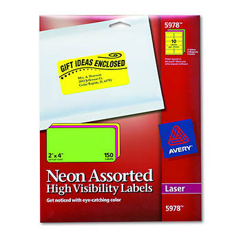 "Avery High-Visibility Labels for Laser Printer, 2"" x 4"", 150 Count - Assorted Neons"