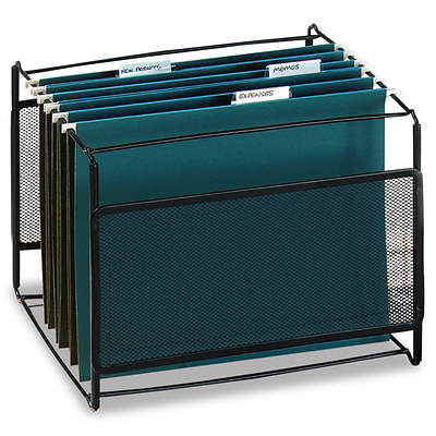 "Rolodex Letter-Size Mesh File Frame Holder, Wire, 12 3/8"" x 11 3/8"" x 9 5/8"" - Black"