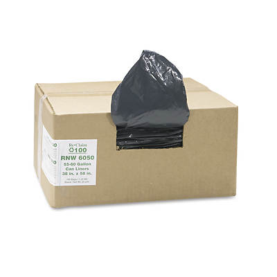 Earthsense Recycled 1.25mil Can Liners, 60 Gallon Capacity, 100 per Carton - Black