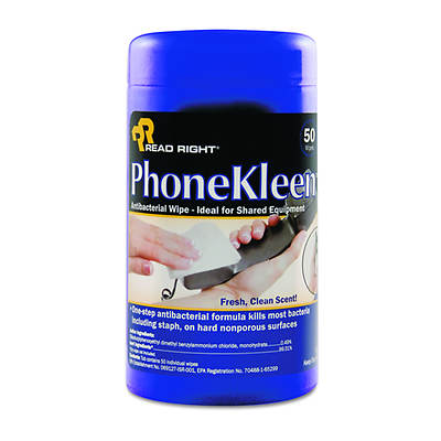 Read Right PhoneKleen Wet Wipes, 50 Wipes per Canister