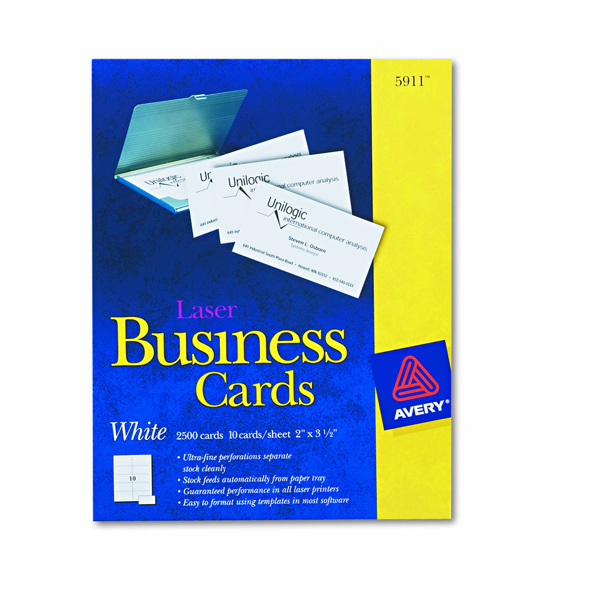 Avery laser business cards 2500 ct white bj39s for Avery laser business cards
