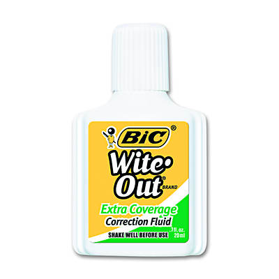BIC Wite-Out Extra Coverage Correction Fluid, 20 ml Bottle - 12 per Pack (White)