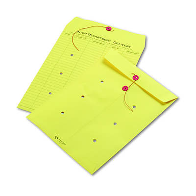 "Quality Park Colored Paper String & Button Interoffice Envelope, 10"" x 13"", 100 per Carton - Yellow"