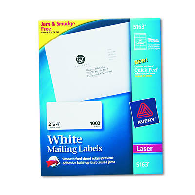 "Avery 5163 Shipping Labels with True Block Technology, 2"" x 4"", 1,000 Count - White"