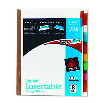 Avery 11123 Worksaver Big Tab Dividers with Multicolor Tabs, Letter - 8 Tabs per Set (White)