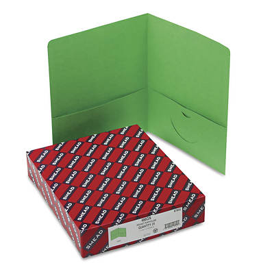 Smead Two-Pocket Portfolio, Embossed Leather Grain Paper, 100-Sheet Capacity, 25 Folders Count (Green)