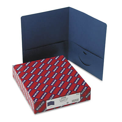 Smead Two-Pocket Portfolio, Embossed Leather Grain Paper, 100-Sheet Capacity 25 Folders Count (Dark Blue)