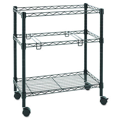 Alera Two-Tier Rolling File Cart, 26w x 14d x 30h (Black)