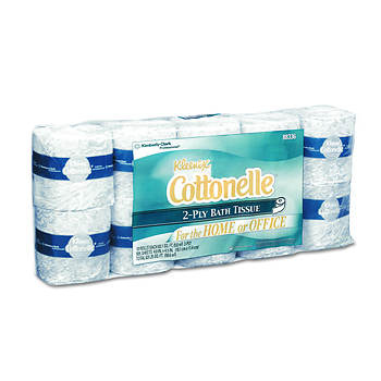 Kleenex Cottonelle 2-Ply Bathroom Tissue Rolls, 505 Sheets per Roll, 40 Rolls per Carton - White