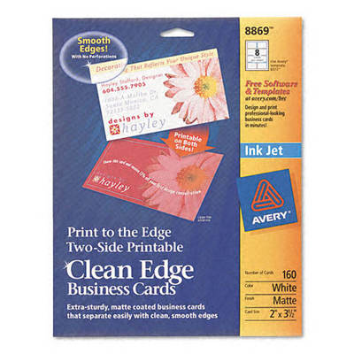 "Avery Inkjet Matte Business Cards, 2"" x 3 1/2"", 8 per Sheet, 160 Sheets per Pack - White"