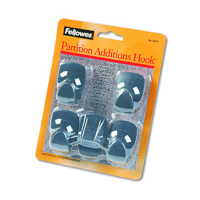 Fellowes Plastic Partition Additions Hooks, 5-Pk - Graphite