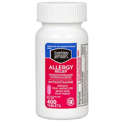 Berkley & Jensen 25mg Diphenhydramine Hydrochloride Antihistamine Tablets, 400 Count