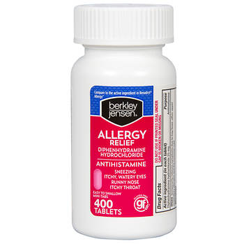 Berkley Jensen 25mg Diphenhydramine Hydrochloride Antihistamine Tablets, 400 ct.