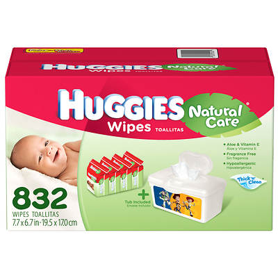 Huggies Natural Care Fragrance-Free Baby Wipes - 832 Count
