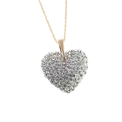 14k Puffed Heart Pendant With Crystallized Swarovski Elements