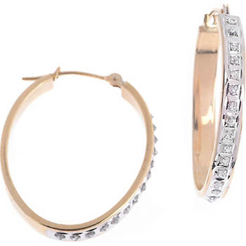 14k Round Diamond Accent Oval Hoop Earrings