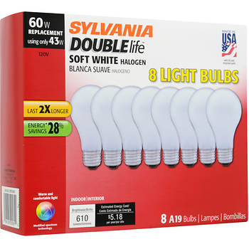 Sylvania 60W Replacement Halogen A19 Light Bulb, 8 pk. - Soft White