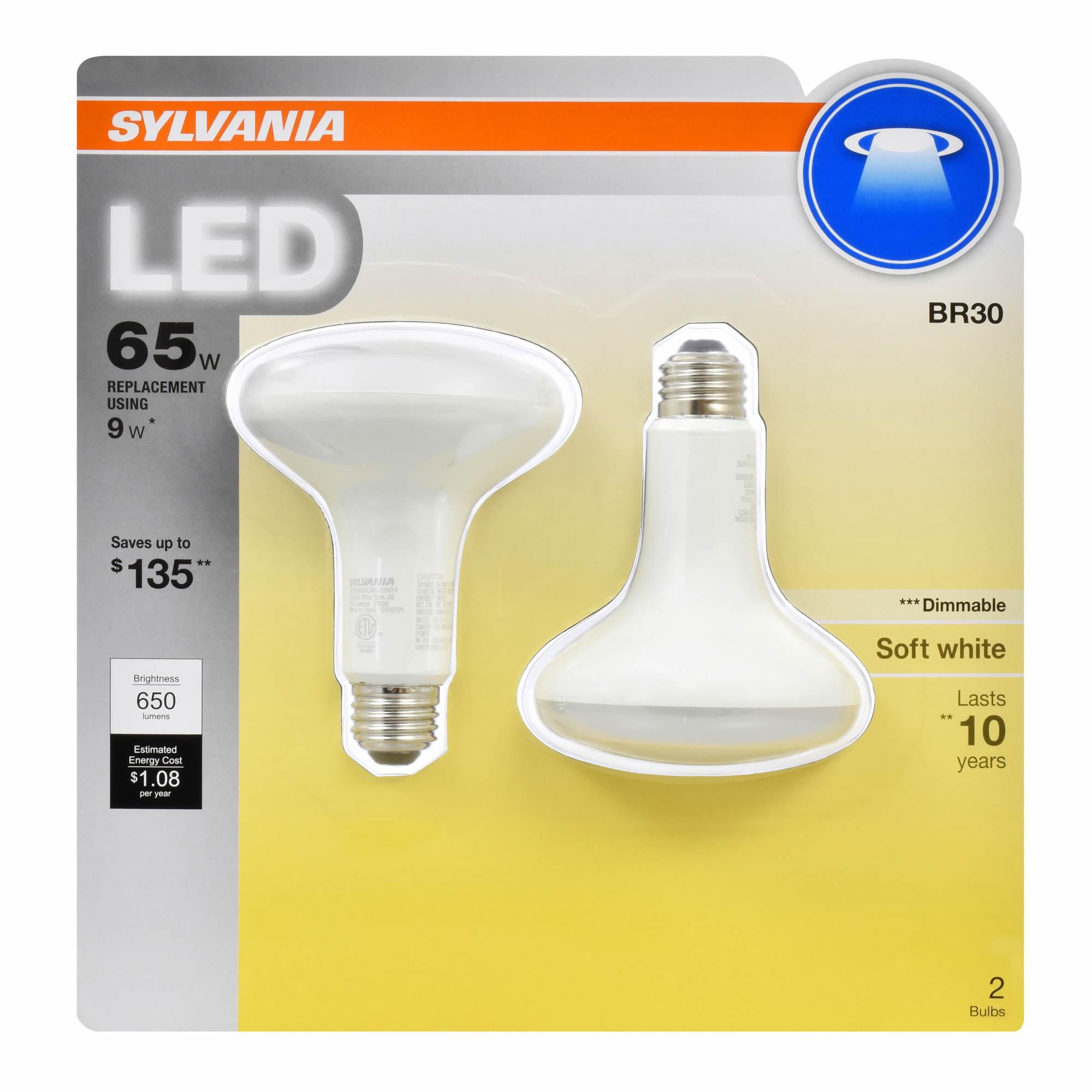 Sylvania Light Bulbs Customer Service: Sylvania 65W Equivalent LED BR30 Lamp Light Bulb, 2 pk. - Soft White,Lighting