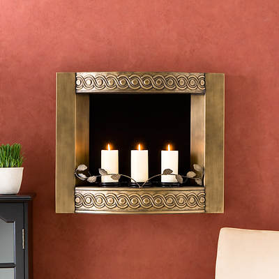 Wall-Mount Gel Fuel Fireplace - Antique Gold
