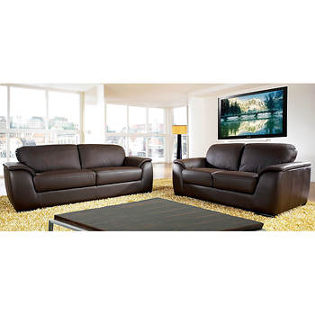 Abbyson Living Avalon 2-Pc. Leather Living Room Set - Dark Brown