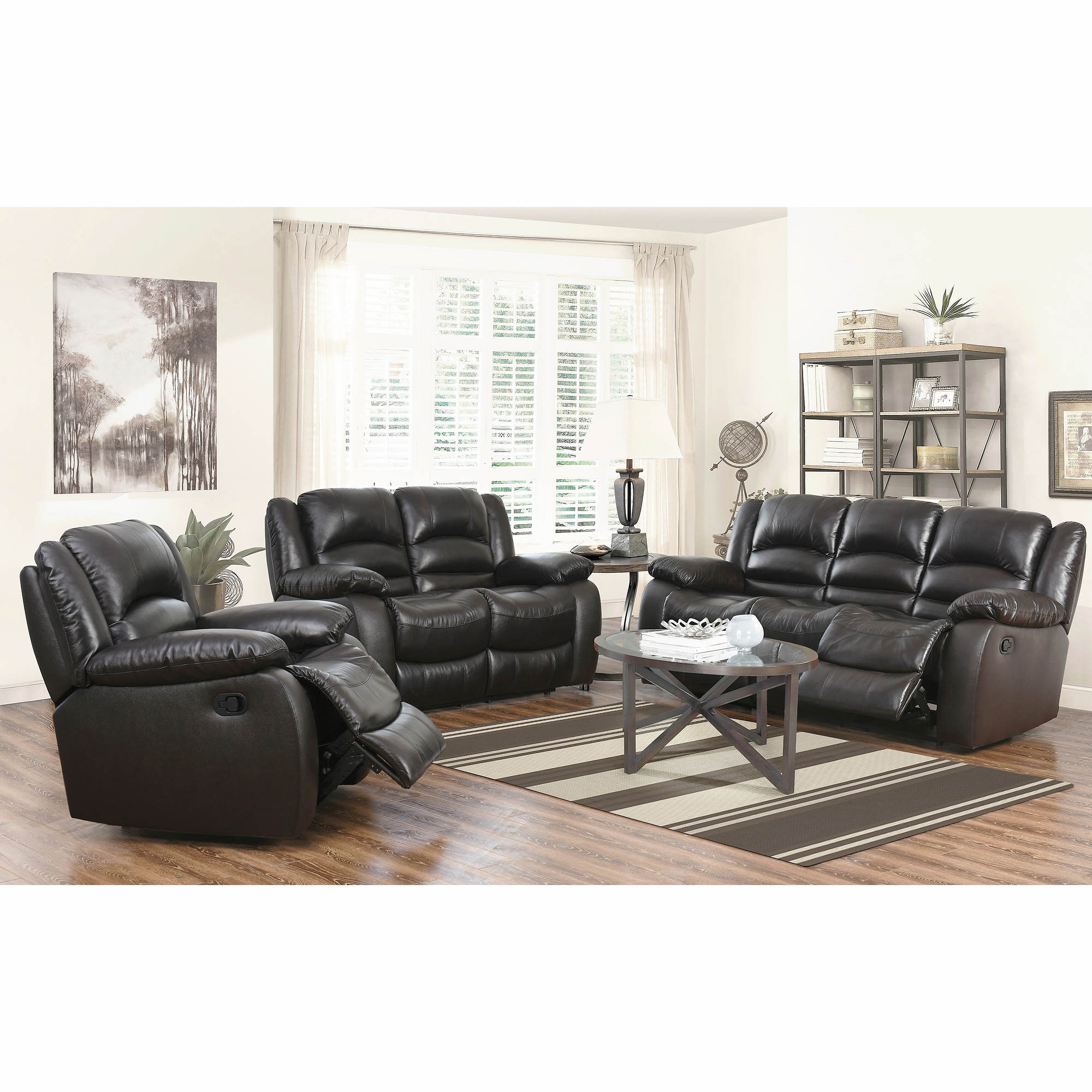 Abbyson living cayman 3 pc italian leather reclining for Brown leather living room set