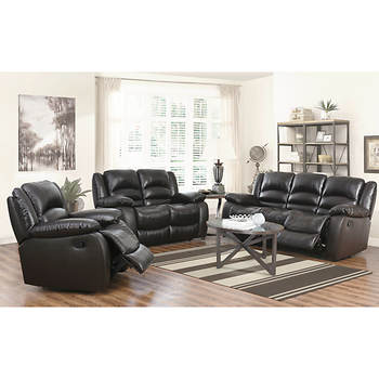 Abbyson Living Cayman 3-Piece Italian Leather Reclining Living Room Set - Dark Brown