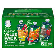 Gerber Organics Fruits and Veggies Value Pack, 12 ct./3.5 oz.