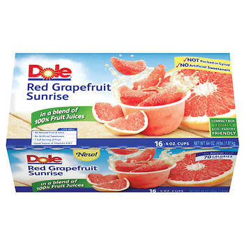 Dole Red Grapefruit Sunrise Fruit Bowl, 16 pk./4 oz.
