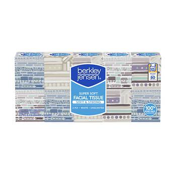 Berkley Jensen Unscented Facial Tissue, 80 ct./10 pk. - White