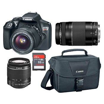 Canon Rebel T6 18MP DSLR Bundle with 15-55mm and 75-300mm Lenses, 32GB SD Card and Shoulder Bag