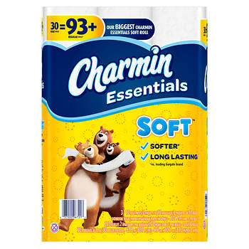 Charmin Essentials Soft Toilet Paper, Huge Rolls, 30 ct.