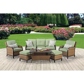 Berkley Jensen Nantucket 6-Pc. Wicker Seating Set - Dupione Aloe