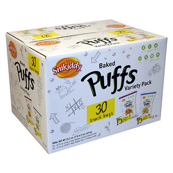 Snikiddy Baked Puffs Variety Pack, 30 ct.
