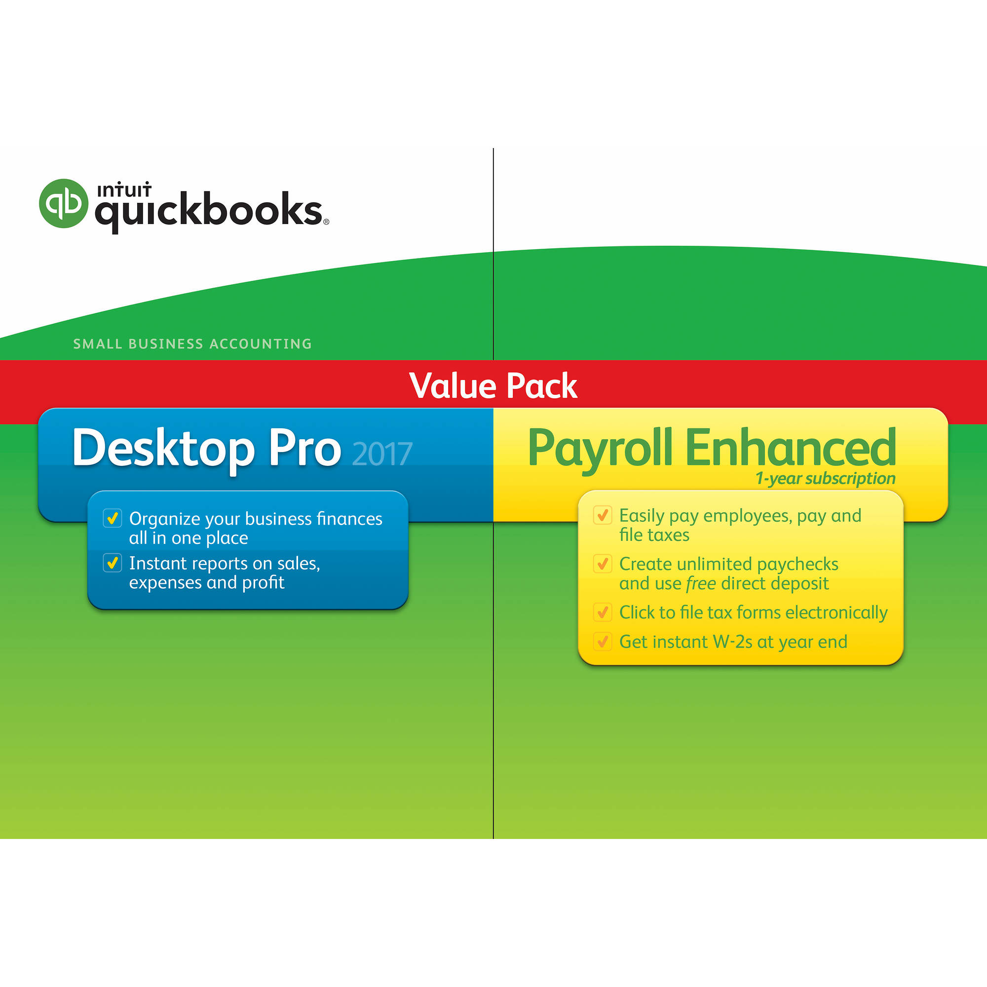 Intuit Quickbooks Pro 2017 With Enhanced Payroll, 1 User